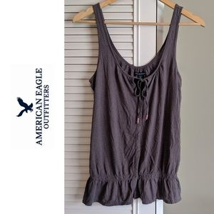 American Eagle Button Up Tank with Tie